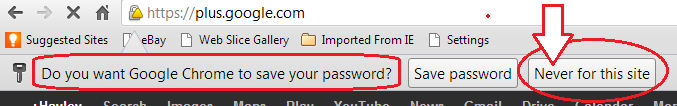 Do not allow software or browsers to save your passwords