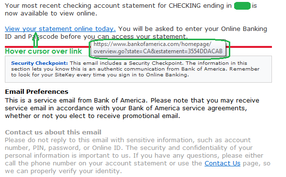 Real Bank Of America Email